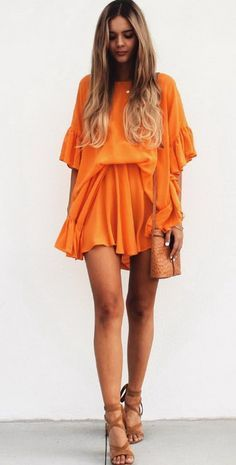 56d05aee42226 What s Trending - 32 Outfits (S S) 2016 Orange Dress Summer