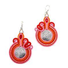 S28/14 orecchini Soutache rosso/arancio/rosa di IOSO su Etsy