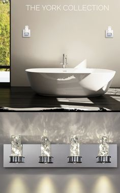 The York collection features glass canisters filled with luxurious premium large crystals. Glass Canisters, Large Crystals, Double Vanity, Lights, York, Bathroom, Luxury, Collection, Washroom