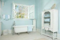shabby chic bathroom...  wall color!