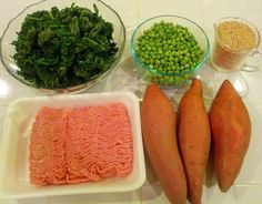 Another home made dog food recipe: lean ground turkey or beef, sweet potatoes, garlic, peas, and kale.