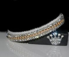 PINK OPAL & DIAMOND CROWN AUSTRIAN CRYSTAL CAT COLLAR