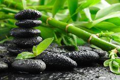 Zen (stenen en bamboe met dauwdruppels)
