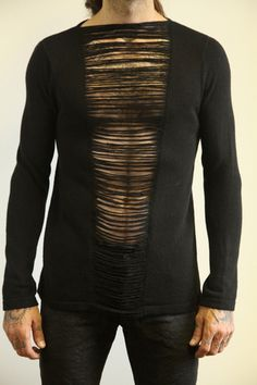 Wool sweater with heavy drop stitching by Le Monde Gris