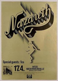 Original concert poster for Nazareth in Germany. 24 x 34 on thin paper. Pin holes and minor handling marks.