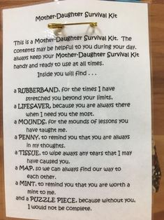 Mother Daughter Crafts, Mother Daughter Activities, Letter To My Daughter, Mother Daughter Quotes, I Love My Daughter, Mothers Quotes To Children, Mothers Love Quotes, Inspirational Daughter Quotes, Survival Kit Gifts