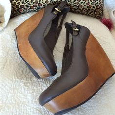 Awesome Matiko Mari wedge heels. New! These are so cute! Taupe leather upper with gold tone buckles and wooden platform wedge. They have some natural imperfections inherent in the wood that make them unique and give character. Originally saw at urban outfitters and bought at Nordstrom on sale for $88. Never wore them. Doh! Matiko Shoes Wedges