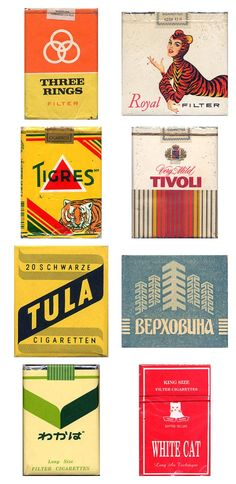 Some delicious vintage cigarette pack designs, for your pleasure. Come to where the flavor is.
