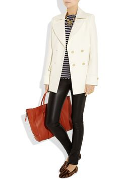 The Row wool coat, Emma Cook top, Aurélie Bidermann ring, Kelly Wearstler ring, Giulietta pants, Givenchy shoes, Lanvin bag.