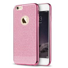 iPhone 5/5S/SE TPU with Pink Glittery Back and Metallic Pink Edges.