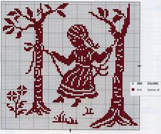girl on swing Cross Stitch For Kids, Cross Stitch Borders, Cross Stitch Baby, Cross Stitch Designs, Cross Stitching, Cross Stitch Patterns, Crochet Applique Patterns Free, Crochet Chart, Embroidery Patterns