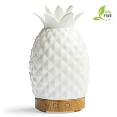 Essential Oil Diffuser - 160 Milliliter Cool Mist Humidifier - 7 Color LED Night Lamps -Crafts Ornaments All in 1 is the Round Rich Upgrade Whisper-Quiet Ultrasonic Ceramics Pineapple Humidifiers