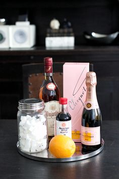 Rosé Champagne Cocktail from www.THEDASHINGRIDER.com with Veuve Clicquot and Brandy #cheers #cocktail