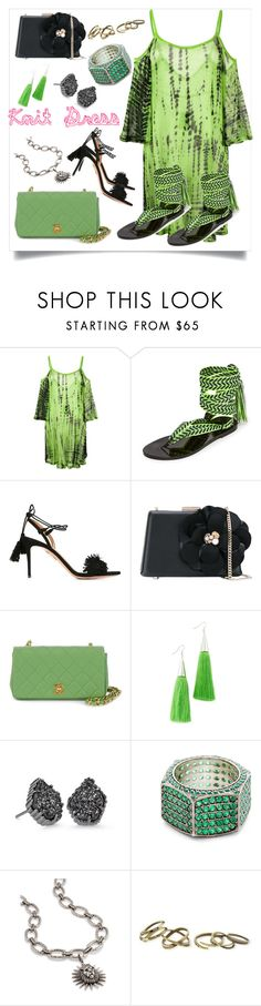 """Knit Dress..**"" by yagna ❤ liked on Polyvore featuring Cecilia Pradomurion, Nupié, Aquazzura, Lanvin, Chanel, Eddie Borgo, Kendra Scott, Joanna Laura Constantine and vintage"
