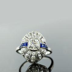 1.30 ct. Cushion Cut Diamond Ring with Sapphires , Circa 1920s