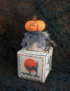 Jack-O-In-The-Box cross stitched 3D ornament