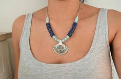 African Lapis & Amazonite Necklace Jewelry African Moroccan