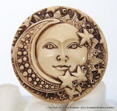 SUN MOON and STARS Celestial Face Cab Cameo Cabocon. Sculpted Windows Jewelry