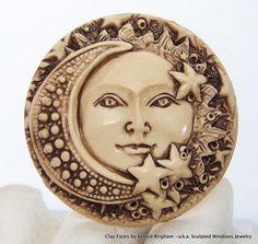 SUN MOON and STARS Celestial Face Cab Cameo Cabocon. Sculpted Windows Jewelry via Etsy.