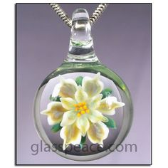 Lampwork Glass Flower Pendant boro necklace focal by Glass Peace $26.00
