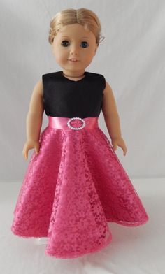 Christmas  Pink Satin and Lace Gown for American by MaryJanesStuff, $35.00