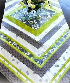48 Spring Summer Table Runner  Bright Green by DesignItAgainCrafts, $28.00