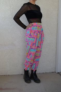vintage early 90s flashy neon high waisted slouchy by undeaddandy, $44.00 - WANT!