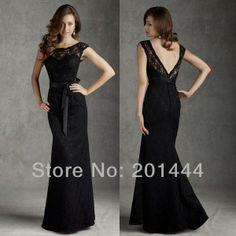 e1c9ca23ca08 Gratis frakt Elegant ärmlös svart spets Jacka Lång brudtärna klänning  skräddarsydd 2014 nya golv längd brudtärna