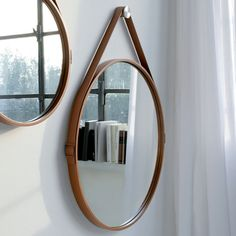 George Hanging Mirror by ModLoft Home Decor Mirrors, Diy Home Decor Bedroom, Wall Mirrors, Bedroom Wall, Mirror Bedroom, Framed Wall, Bedroom Ideas, Mirrors With Leather Straps, Leather Wall