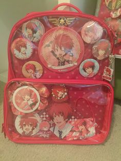 Wip. I need more safety pins to finish adding merch to the backpack lol. Also waiting on more merch!#itabag #utapri