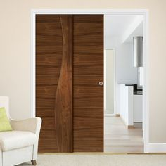 Deanta Twin Telescopic Pocket Contemporary Design Cadiz Walnut Veneer Doors - Prefinished.    #pocketdoors  #slidingdoors  #moderndoors