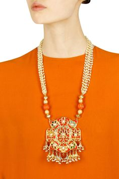 Gold finish multilayer pearl and coral stone necklace available only at Pernia's Pop Up Shop.