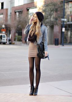 HAT, H&M  SCARF, H&M  VINTAGE LEVI'S JACKET  DRESS, AMERICAN APPAREL  TIGHTS, URBAN OUTFITTERS,   BOOTS, URBAN OUTFITTERS,  PS1 BAG, PROENZA SCHOULER,