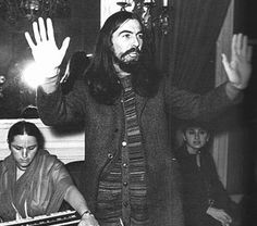 George Harrison (during the recording of the Hare Krishna Mantra by the Radha Krishna Temple)