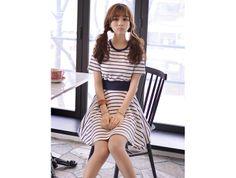 Navy Stripe Printed Smocked Waist Dress