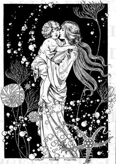 """""""Three days agone ~ I found a tiny fair-haired infant.illustration by Violet Moore Higgins. Vintage Illustration Art, Girl Illustrations, Brain Illustration, Art Nouveau Illustration, Mermaid Illustration, Family Illustration, Beauty Illustration, Fantasy Illustration, Illustration Artists"""