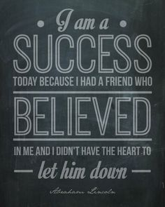 "Abraham Lincoln Quote Inspirational Poster Motivational ""I Am a Success"" Typography Print Home Decor"