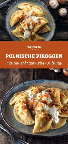 Polish Dumplings with Sauerkraut & Mushrooms This delicious and easy recipe takes you less than 30 minutes to create. With it's low number of ingredients the quick recipe is the perfect comfort food f Greek Recipes, Quick Recipes, Whole Food Recipes, French Recipes, Best Vegetarian Recipes, Healthy Recipes, Polish Dumplings, Polish Pierogi, Mushroom Appetizers
