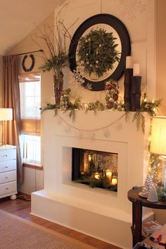 Yet another cozy adorable room that looks like it should be in a little log cabin or a tiny, little pastel cottages by the sea. This would make a good bedroom. Bedroom Fireplace, Fireplace Design, Fireplace Mantle, Mantle Mirror, Christmas Mantles, Winter Christmas, Christmas Home, Rustic Christmas, Christmas Bedroom