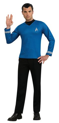 Adult Costumes - This mens Star Trek Blue Shirt Mr. Spock costume from the Star Trek Movie includes the blue science crew shirt as worn by Mr. Spock, the attached dickie and screen printed emblem.