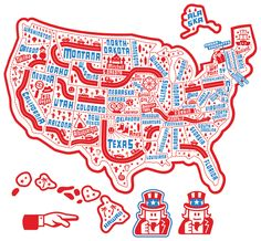 fun road trip map of America