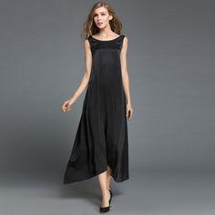 6e9c6458a410 Aliexpress.com   Buy WOMEN SEXY PARTY DRESSES WOMEN NOBLE DRESS REAL SILK  SATIN VESTIDO SUMMER LONG DRESS SLEEVELESS MAXI DRESS PLUS SIZE BOHEMIAN  from ...