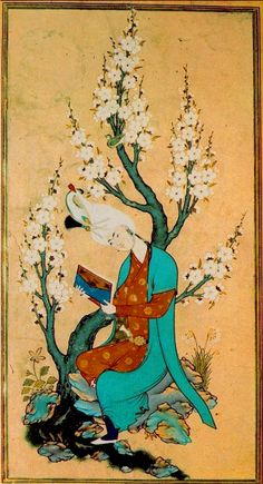 Young Man with a Book by Sultan Muhammad,1540s (Reinette: Persian Art,Miniature and Painting)