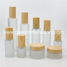 New Frost Cylinder Glass Lotion Bottles With Wood Cap & Glass Cosmetic Jars With Wood Cap from China