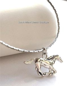 "Silver Horse Necklace Plated Mustang Cowgirl Country Western 18"" USA Seller #Unbranded #Pendant"
