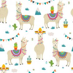 Pattern Illustration, Character Illustration, Cartoon Llama, Cow Cat, Fabric Animals, Baby Scrapbook, Nursery Design, Pretty Art, Llamas