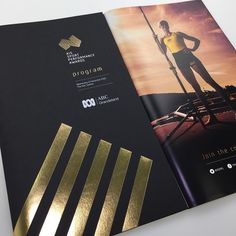 """66 Likes, 3 Comments - Digitalpress Pty Limited (@digital_press) on Instagram: """"Event program for @australian_institute_of_sport foiled and printed on @bjballau Notturno and Silk…"""""""