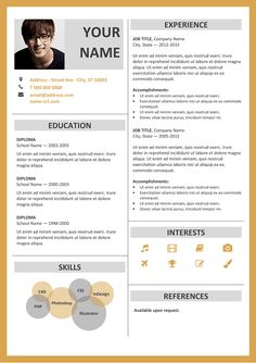 Ikebukuro Free Elegant Resume Template Orange For Ms Word