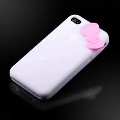 "Hello Kitty White Silicone w bow (bow color may vary) ""Flexa"" silicone case cover for Apple iPhone 4 4G 4S"