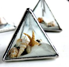 One Of A Kind Stained Glass Pyramid Beachscape by LAGlass on Etsy, $29.50 #StainedGlassBeach